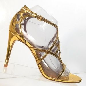 Tory Burch Gold Strappy High Heels Sandals 8.5 M